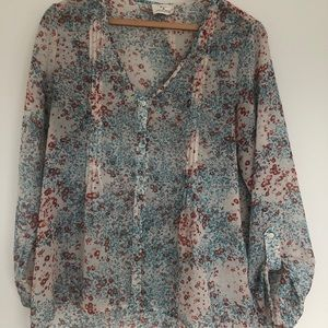 Urban Outfitters Watercolor Chiffon Blouse